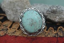 Unique Navajo Sterling Silver Ring Rare Light Green Dry Creek Turquoise Size 7.5