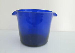 Antique Early 19th Century COBALT Blue HANDBLOWN Glass Double Spout Wine Rinser