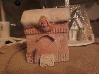 Vintage 1900 Mica Cotton Batting Paper Pulp Santa Christmas Candy Box/Container