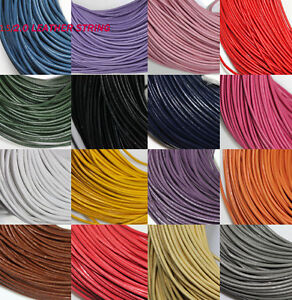 5 Meter Real Leather Rope String Cord Necklace Charms Jewelry Finding 1.5/2mm
