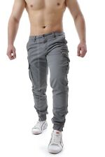 Pantaloni Uomo Cargo tasche laterali Slim Jeans tasconi Polsino Zip cotone W753 Grigio Instinct