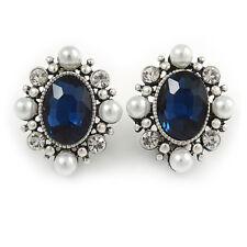 Oval Clip On Earrings In Silver T Dark Blue/ Clear Glass Stone, White Faux Pearl