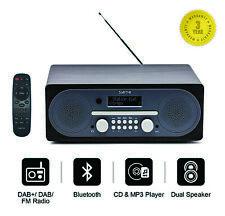Saturn Bluetooth DAB+ FM DAB Radio Mains Powered with Dual Speakers - Black