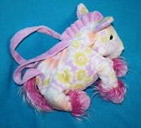 Kellytoy HORSE Plush Stuffed Purse Tote Bag Yellow Flowers Pink Purple Soft Toy
