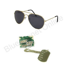 Militare Anni 80 Aviatore Occhiali Da Sole & Dog Tag Costume Uomo Donna