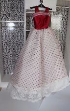 Barbie doll red & white gown dress layered skirt polka dot lace trim NICE