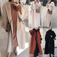 Womens Woolen Lapel Side Split Long Trench Coat Cardigan Duster Jackets Overcoat