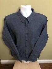 Mens Untuckit 3XL Dark Chambray Button Front Shirt Long Sleeves Free Shipping 5A