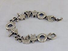 "TOFA Charm Bracelet ~ ""Sailing Away"", Silver Tone Classic 1995 Slider  #5430500"