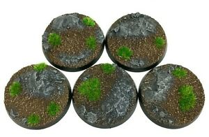 Rocks - Round Resin Bases 40 mm - 5 Painted/Unpainted Bases for Warhammer