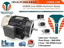 2 HP Electric Motor, COBRA LINE, 1800 RPM, Three Phase, 56C - C-Face