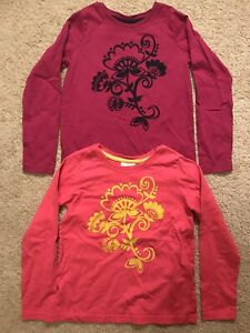 Girls Hanna Andersson 130 Pink Purple Long Yellow Floral Sleeve Shirts Tops