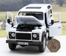 PERSONALISED PLATE 1/24 White Land Rover Defender 90 Boys Toy Dad Boxed Present