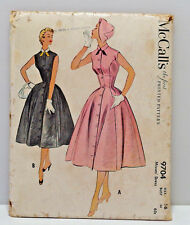 VINTAGE 9704 McCalls Dress Pattern size 16 UNCUT Sleeveless Sewing 1954