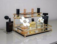 Gold 2 Tier Mirrored Glass Makeup Brush Lipstick Cosmetic Storage Organiser