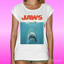 T-SHIRT BIANCA DONNA WOMAN LOCANDINA FILM JAWS LO SQUALO  IDEA REGALO
