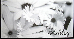 BLACK & WHITE FLOWERS CHECKBOOK COVER PERSONALIZED