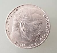 5 Reichsmark 1936 - A - 900-er Silber Silbermünze Hindenburg Reichsadler - vz