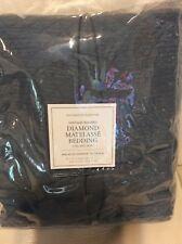 Restoration Hardware Vintage Diamond Matelasse King Bed Skirt Nocturne Blue NWT