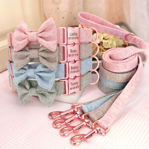 Soft Nylon Personalised Dog Collar and Lead Set Bowtie Puppy Necklace ID Collar