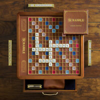 New Scrabble Luxury Edition with Wood Cabinet and Rotating Turntable Game Board