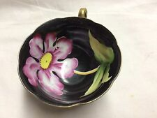 Black Tea Cup with Large Pink Flower inside- MArked C-18