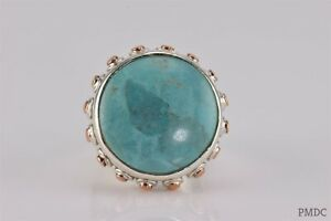 Barse Sterling Silver Blue Turquoise Copper Button Bezel Band Ring 925 Sz: 6