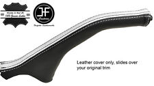 BLACK & WHITE STRIPE LEATHER HANDBRAKE BOOT FOR MITSUBISHI MAGNA DIAMANTE 99-03