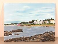 Original Acrylic Painting 12x16 canvas panel, beach Town, Coastal Inlet art