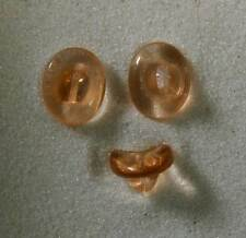 """6 Pink Buttons Czech Glass Transparent Oval Saddle 1/2 X 7/16"""" or 12 X 11 mm"""