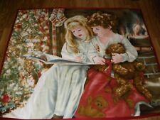 Sandra Kuck Christmas Fleece Throw Blanket Children Reading Tree Teddy Bear