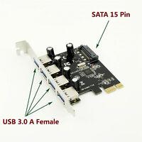 1pc 4-Port SuperSpeed USB 3.0 PCI-E PCI Express Card SATA Power Connector VL805