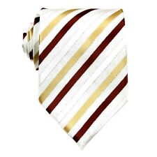 Men's White Striped 100% Silk Wedding Ties Groom Party Neck Tie Necktie BP05