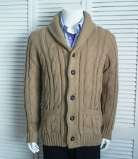 NEW Mens SIZE 2XL ALPACA Beige Shawl Collar Cable Cardigan Sweater PERU