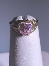 YELLOW GOLD & PINK CZ BABY RING. SIZE 1.25