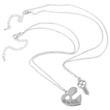 NEW BFF Silver Heart Lock and Key Best Friend Set Pendants 2 Necklace Friendship
