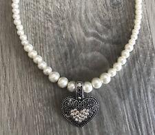 Trachtenkette Perlenkette weiß Herz Dirndlkette Trachtenschmuck Perlen Hochzeit