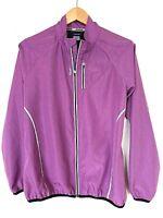Reebok Full Zip Purple Windbreaker Reflective Lightweight Jacket Womens Sz Large