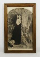Antique 19th Century Victorian Lithograph Print of Romantic Woman Scene