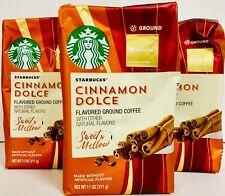 3 Starbucks Cinnamon Dolce Flavored Blonde Light Roast Ground Coffee, 11 oz Bags