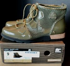 NIB Womens Sorel Major Lace Up Ankle Fashion Boots Wedge Booties - Green Size 9