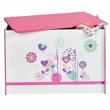 FLOWERS AND BIRDS TOY BOX KIDS BEDROOM STORAGE SOLUTION PINK TOYS GAMES BOOKS