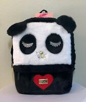BETSEY JOHNSON Backpack Panda Face Plush Black White School Travel Bag NWT $98.