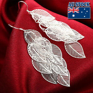 Classic Stunning 925 Sterling Silver Filled Leafs Dangle Earrings Gift