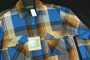 NWT Claybrooke Outdoors Blue Plaid Flannel Shirt Grunge Cobain Mens M Hipster