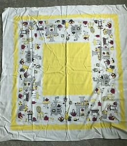 Vintage Square Tablecloth Yellow w/ Fireplace, Wood Burning Stove Kitchen Scenes