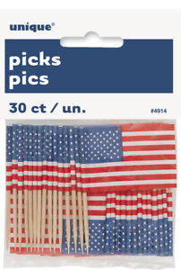 30 x USA Flag picks 4th July food & drinks picks Patriotic United States Parties