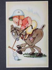 Caricature Cartoon of POLO PLAYER & HORSE - Old Belgium Postcard
