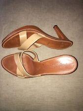 Yves Saint Laurent Rive Gauche Tan Leather Platform Sandal Heels SZ 41