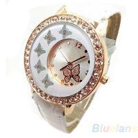 FASHION WOMEN BUTTERFLY PATTERN CRYSTAL PU LEATHER BAND QUARTZ WRIST WATCH B8BK